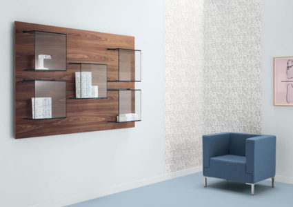 Bookcase Dazibao with glass cubes and wooden back panel