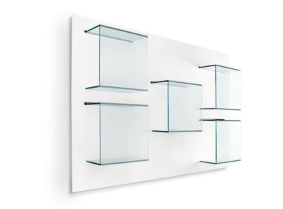 Bookcase Dazibao with glass cubes and white back panel