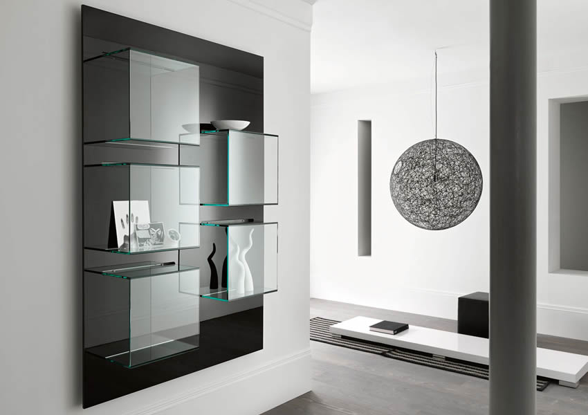 Bookcase Dazibao with glass cubes and black back panel