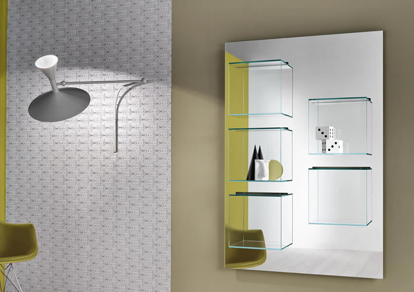 Bookcase Dazibao with glass cubes and mirrored back panel