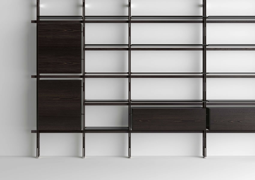 Wall bookcase Hemingway with glass shelves