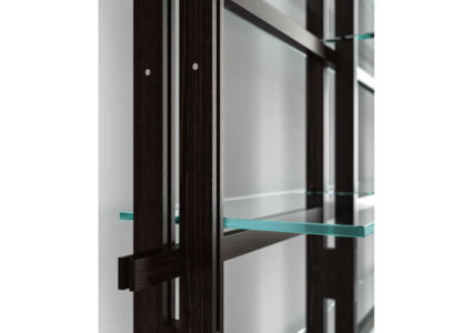 Bookcase Hemingway with extra clear glass shelves
