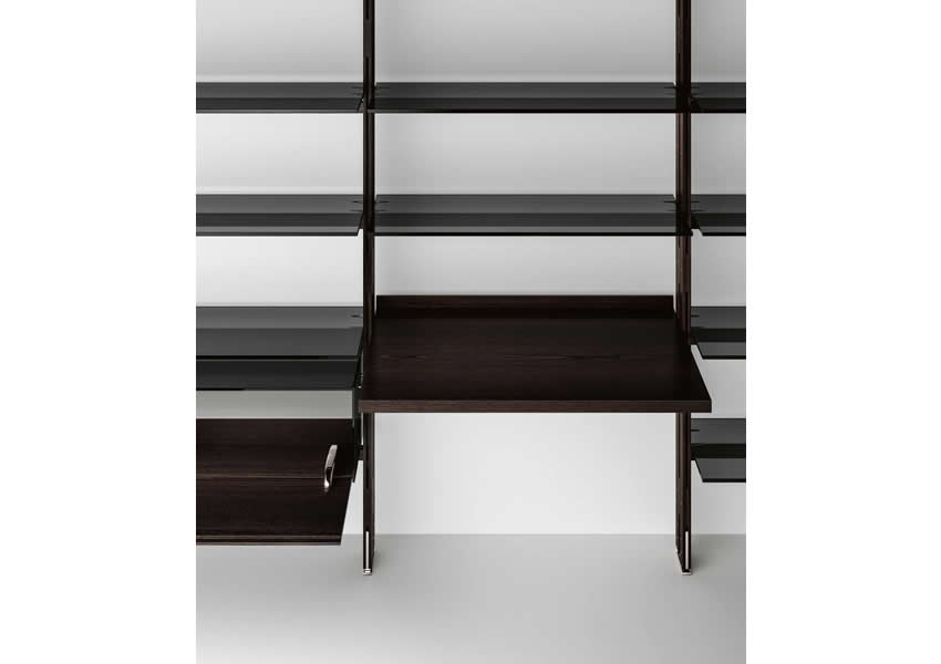 Bookcase Hemingway with glass shelves and workstation