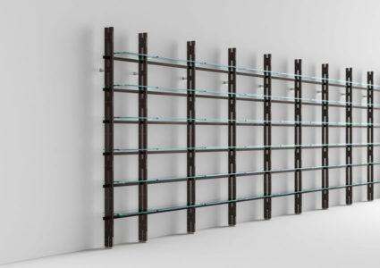 Modular bookcase Hemingway with glass shelves