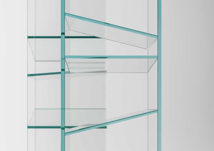Glass bookcase Folio with shelves on different inclinations